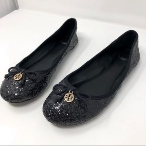 Tory Burch ballet black sequence shoes